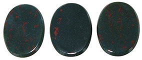 Examples of typical dark green bloodstone with varying spread of red flecking.