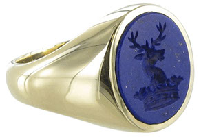 Example of a seal engraved Lapis Lazuli signet ring showing gold flecks in the blue stone. - Signets and Cyphers