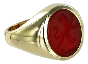Example of a cornelian signet ring. Seal engraving in cornelian produces amazing detail.