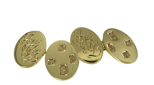 Gold Oval Cufflinks, Initials and Feature Hallmarked.