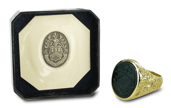Bloodstone Seal Ring with Gold carving and full coat of arms
